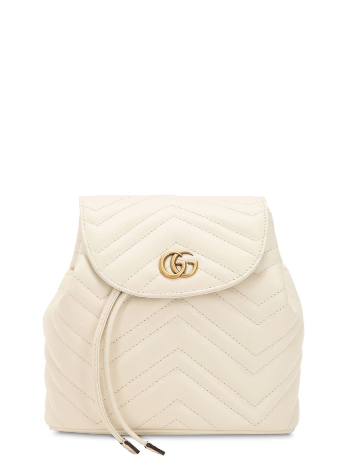 189f7a6c55b8 Gucci Mini Gg Marmont Leather Backpack in White - Lyst
