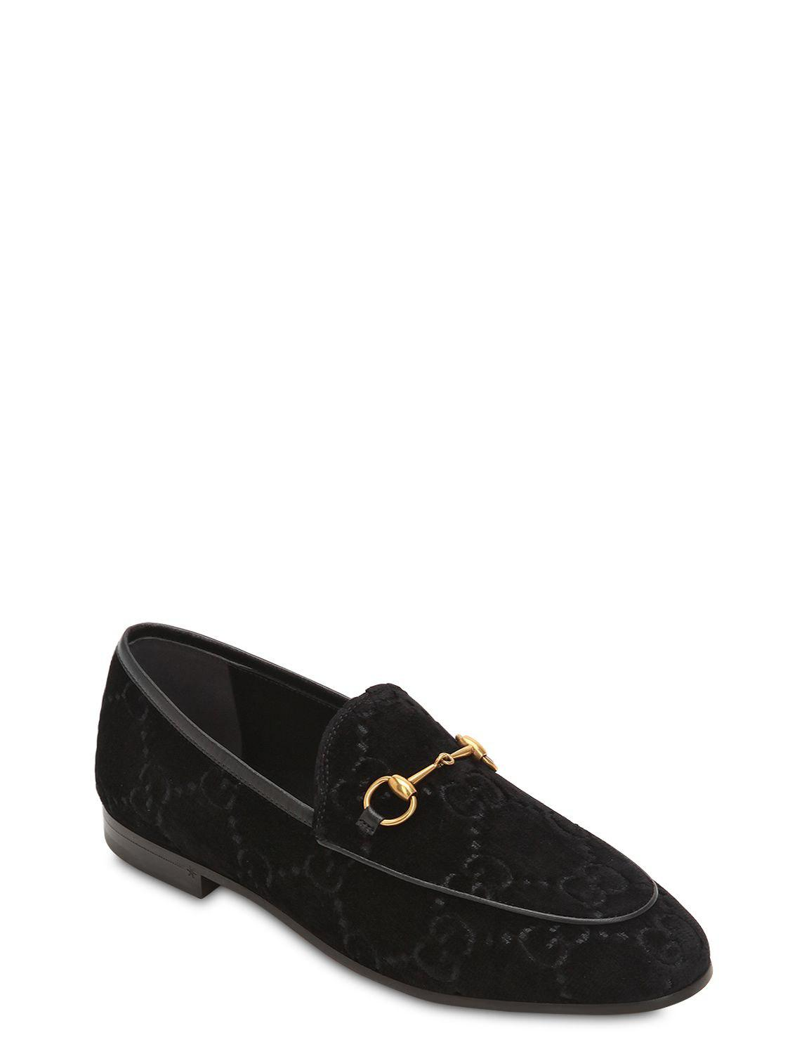 ccab855df Gucci 10mm Jordan Gg Supreme Velvet Loafers in Black - Lyst