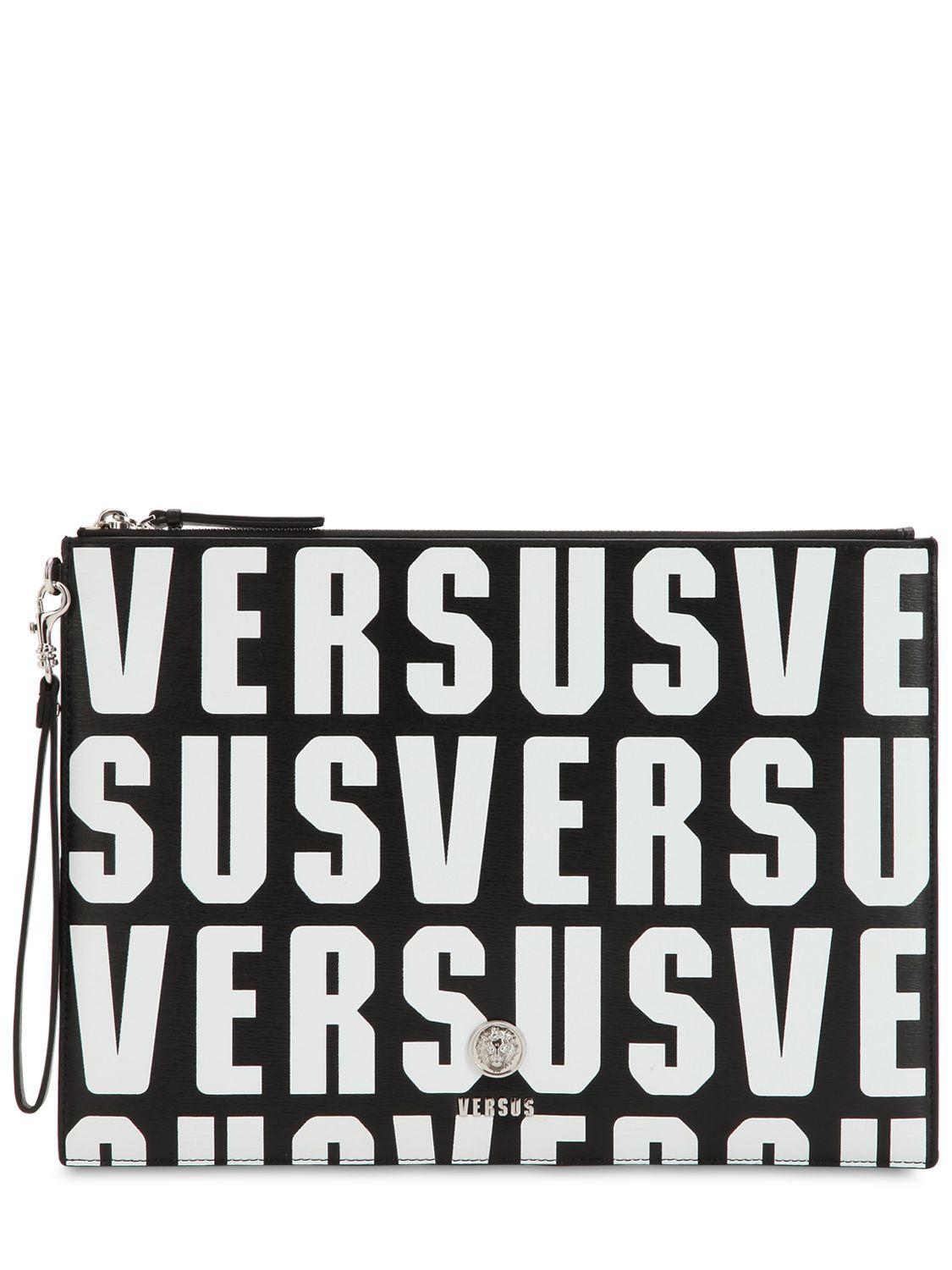 Versus LETTERING PRINTED TEXTURED LEATHER POUCH Free Shipping Really Clearance Shop For wzPKnKWL0N