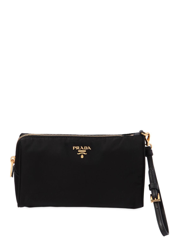 b813949a75 Lyst - Prada Small Nylon Cosmetic Case W  Wrist Strap in Black ...