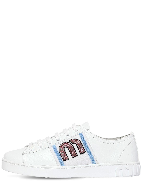 Miu Baskets Logo Perles Miu - Blanc xGeCq7Dz