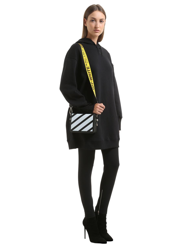 ee69d12e9bdb46 Off-White c/o Virgil Abloh Binder Clip Striped Leather Shoulder Bag ...