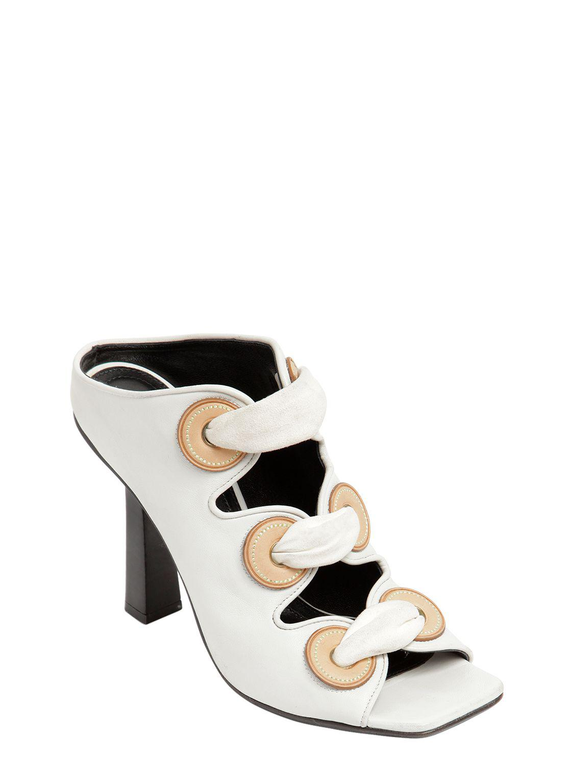 J.W.Anderson 100MM LEATHER MULE SANDAL W/ EYELETS