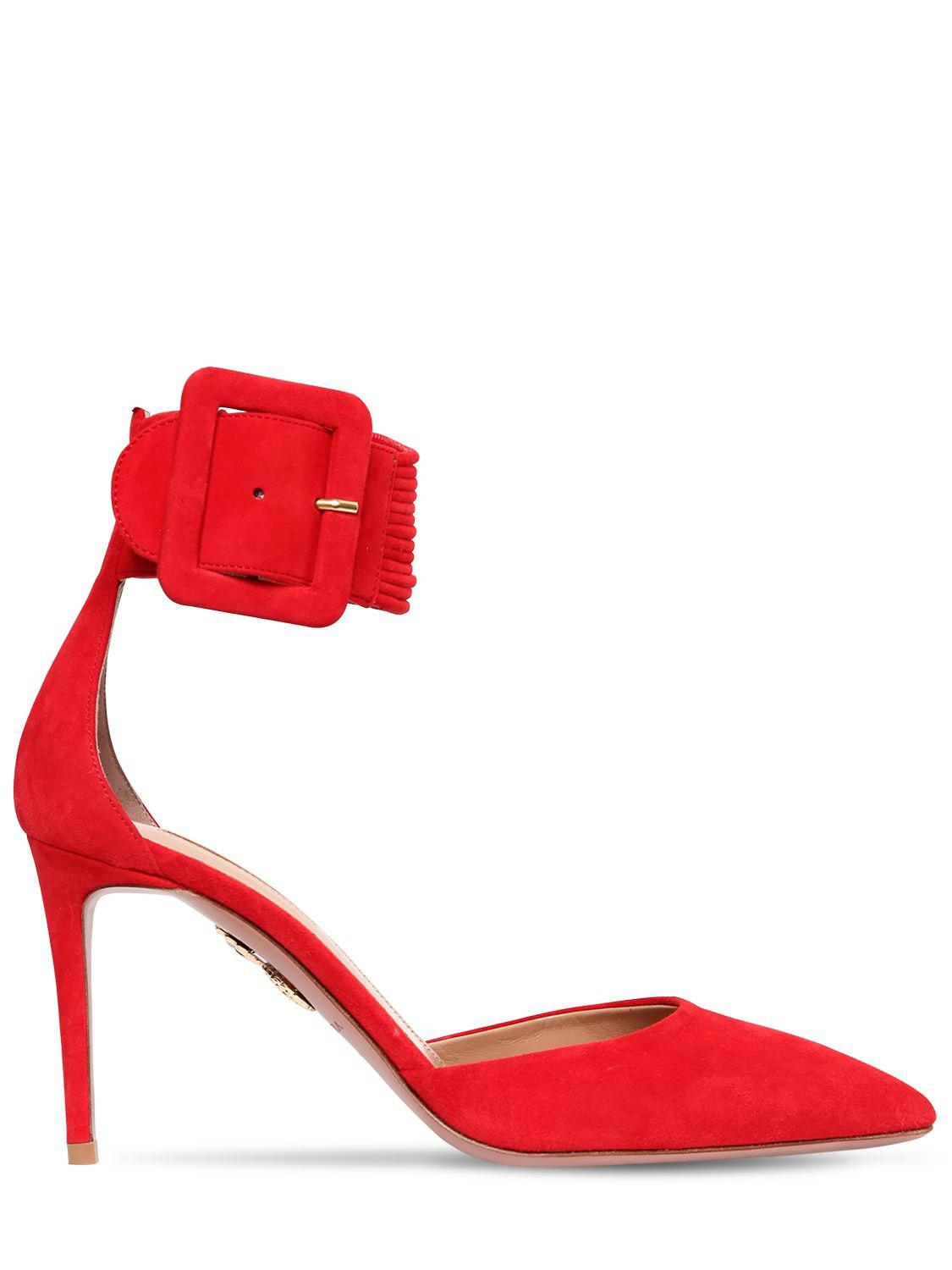 3d6b6da7ddf1 Lyst - Aquazzura 85mm Casa Blanca Suede Pumps in Red - Save 40%
