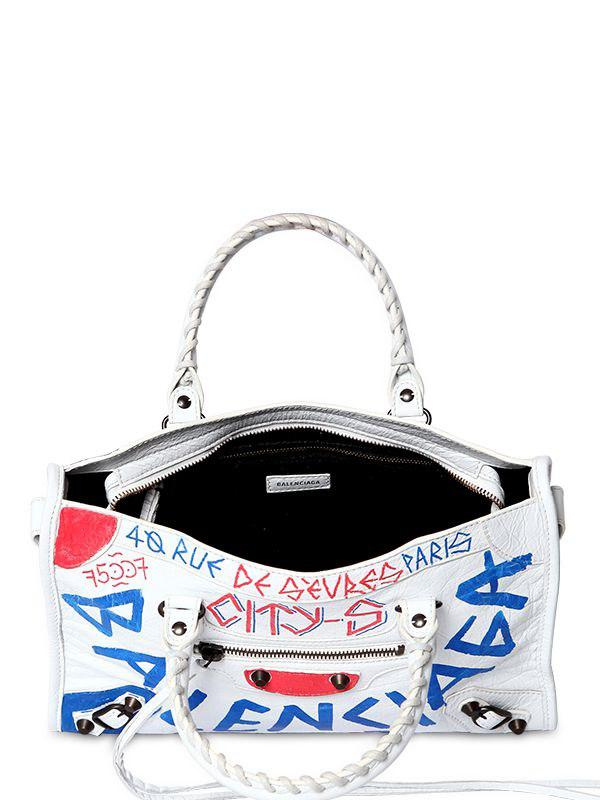 2be227d2359 Balenciaga Small City Graffiti Leather Bag in White - Lyst
