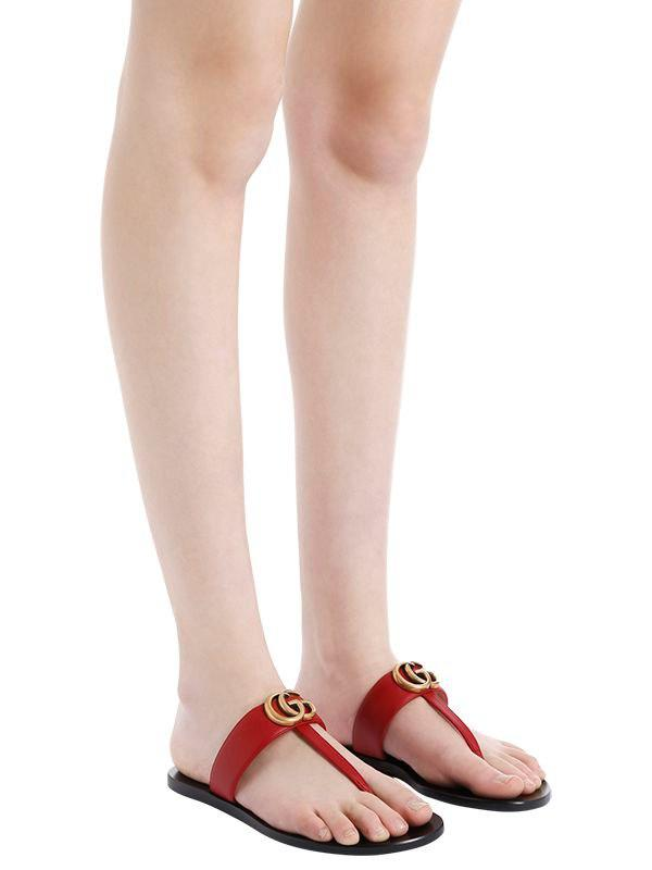 c89cedeb9a05 Lyst - Gucci 10mm Marmont Leather Thong Sandals in Red