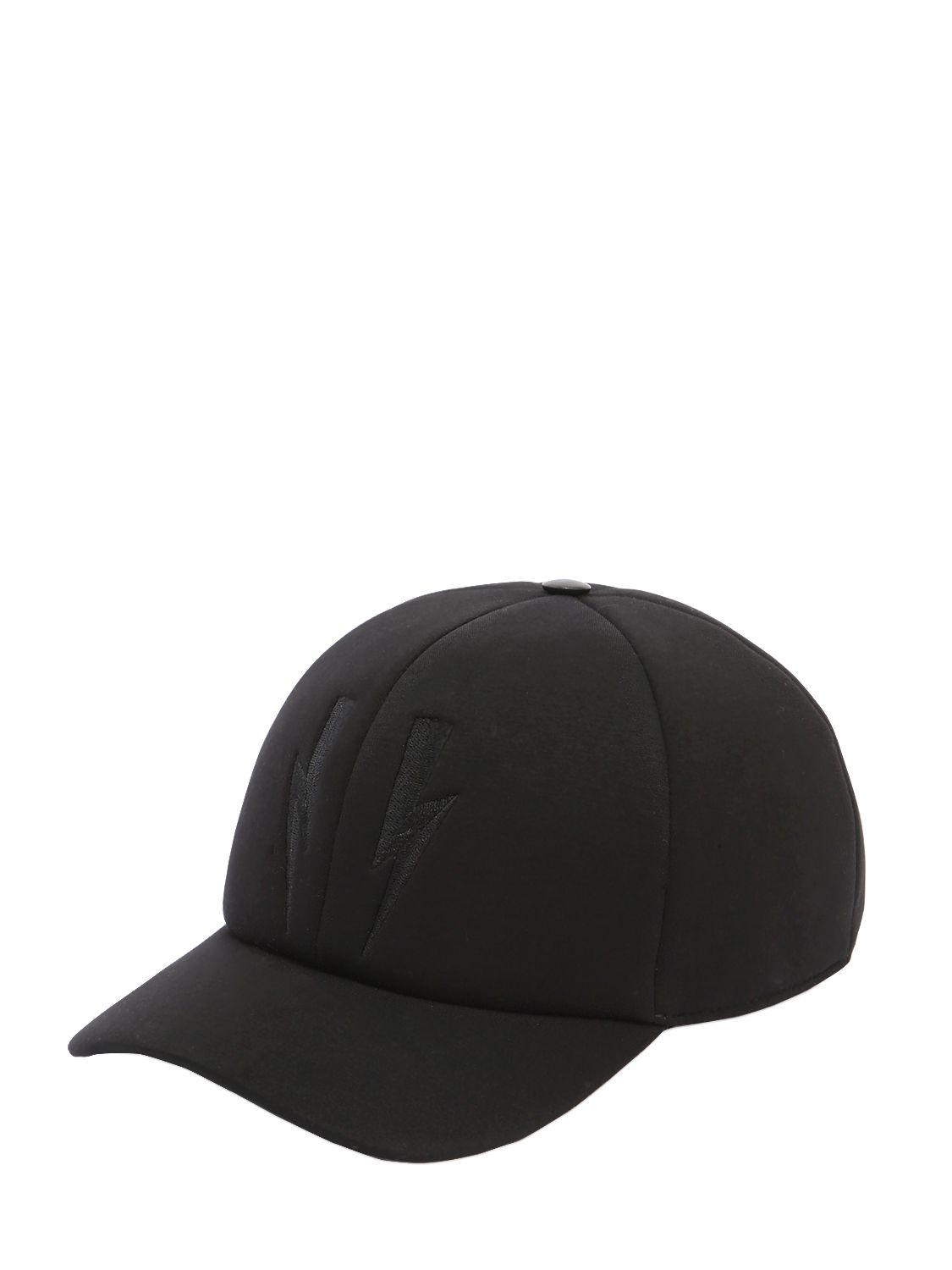 ab3bb4b1387 Neil Barrett - Black Bolts Baseball Hat W  Leather Detail for Men - Lyst.  View fullscreen