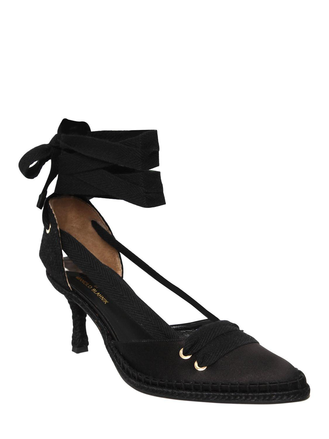 Manolo Blahnik 70MM MANOLO NIGHT SATIN LACE-UP PUMPS For Sale Footlocker Limited Edition Cheap Online For Sale Cheap Online Low Cost Cheap Price New Styles ygzdqP