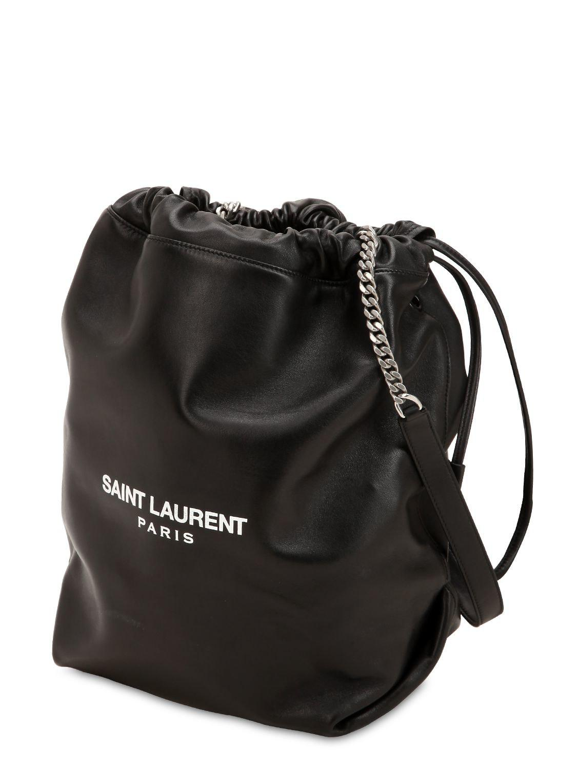 Saint Laurent - Black Teddy Leather Bucket Bag - Lyst. View fullscreen 684b9902db0f5