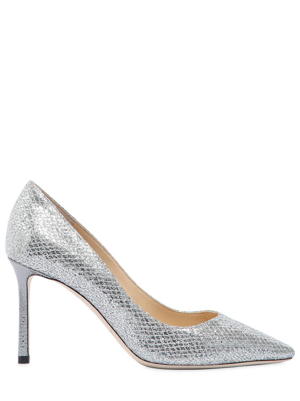 Jimmy Choo. Women's Metallic 85mm Romy Glitter & Net Lace Court Shoes