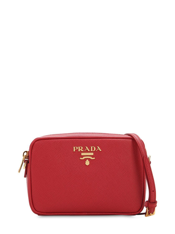 Prada - Red Saffiano Lux Leather Camera Bag - Lyst. View fullscreen 2105f51b3258c