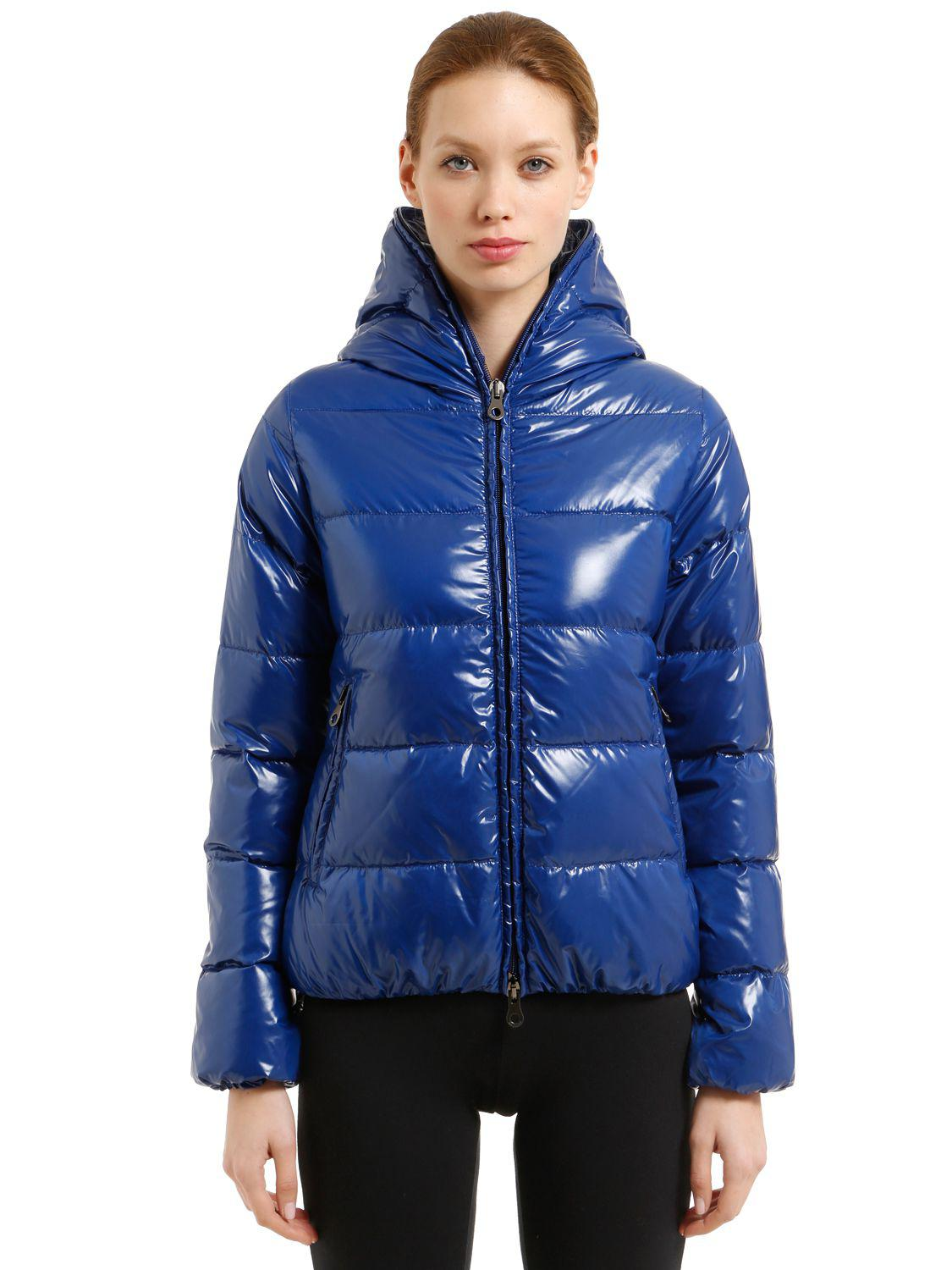 Lyst Duvetica Thia 5 Shiny Nylon Down Jacket In Blue