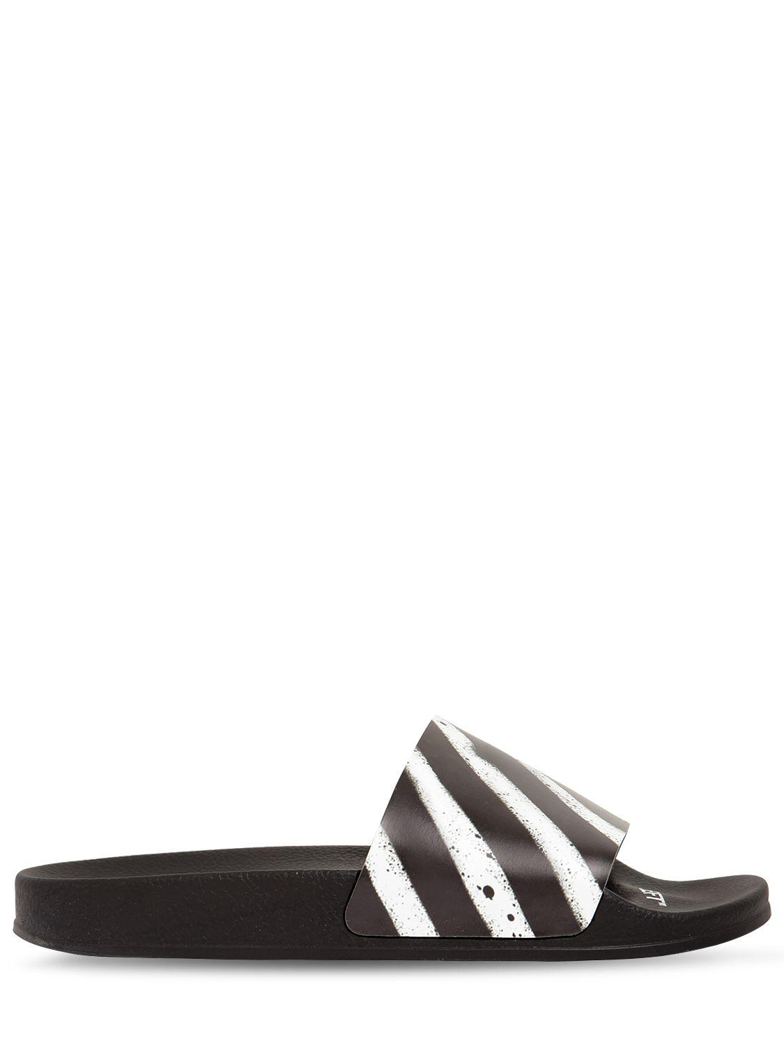 f269901c087e Lyst - Off-White c o Virgil Abloh Spray Stripes Slide Sandals in Black for  Men - Save 6%