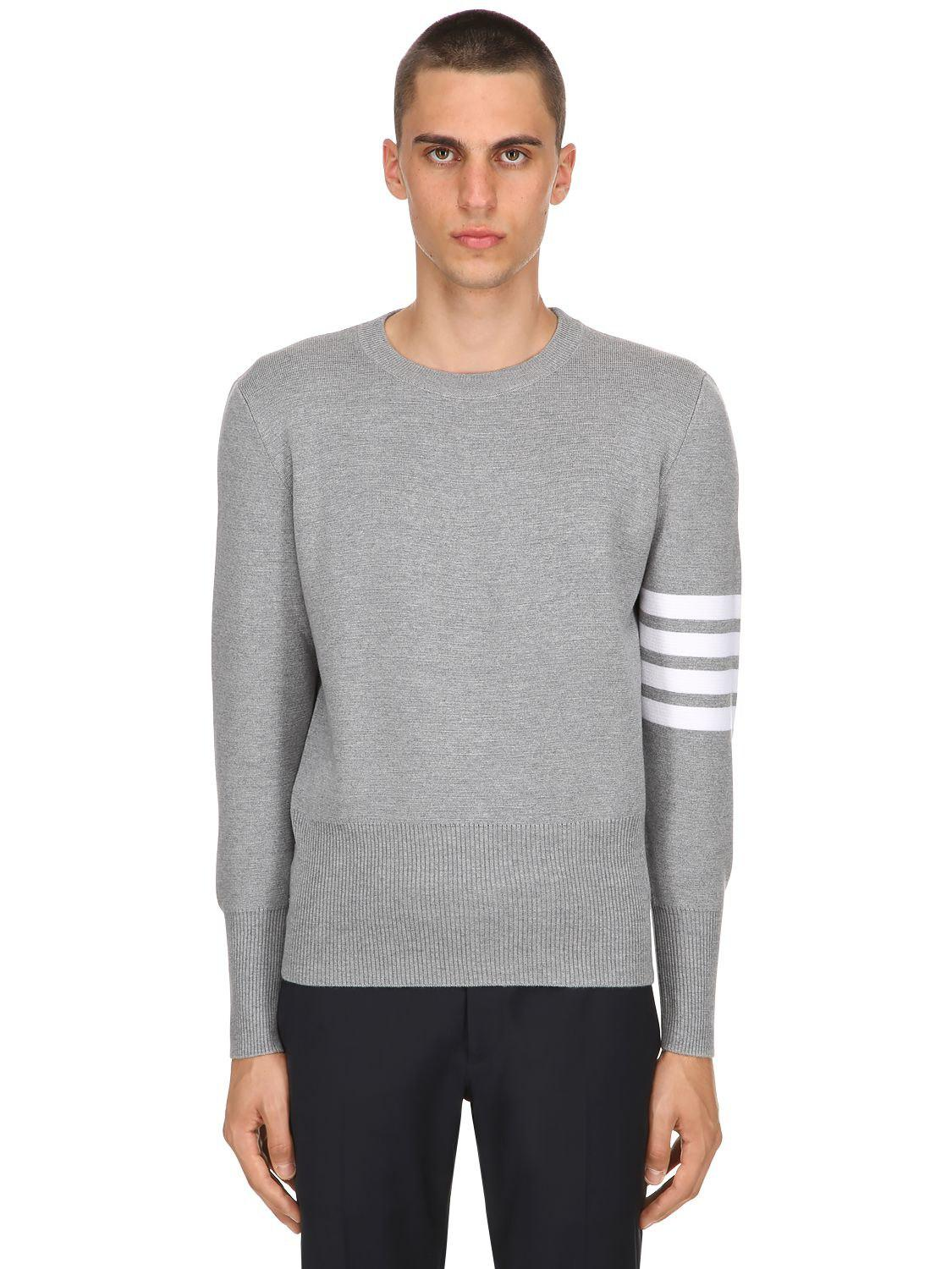 df8613c565 Thom Browne Intarsia Stripes Wool Milan Knit Sweater in Gray for Men ...
