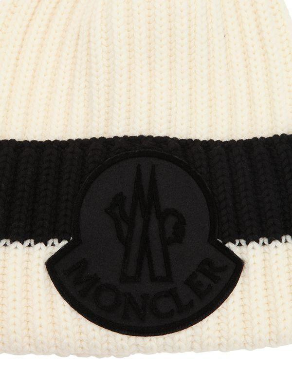 49d2f9ce67b Lyst - Moncler Logo Wool Rib Knit Beanie Hat in Black for Men