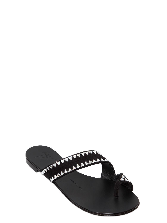 52153589372 Giuseppe Zanotti - Black 10mm Swarovski Suede Sandals - Lyst. View  fullscreen