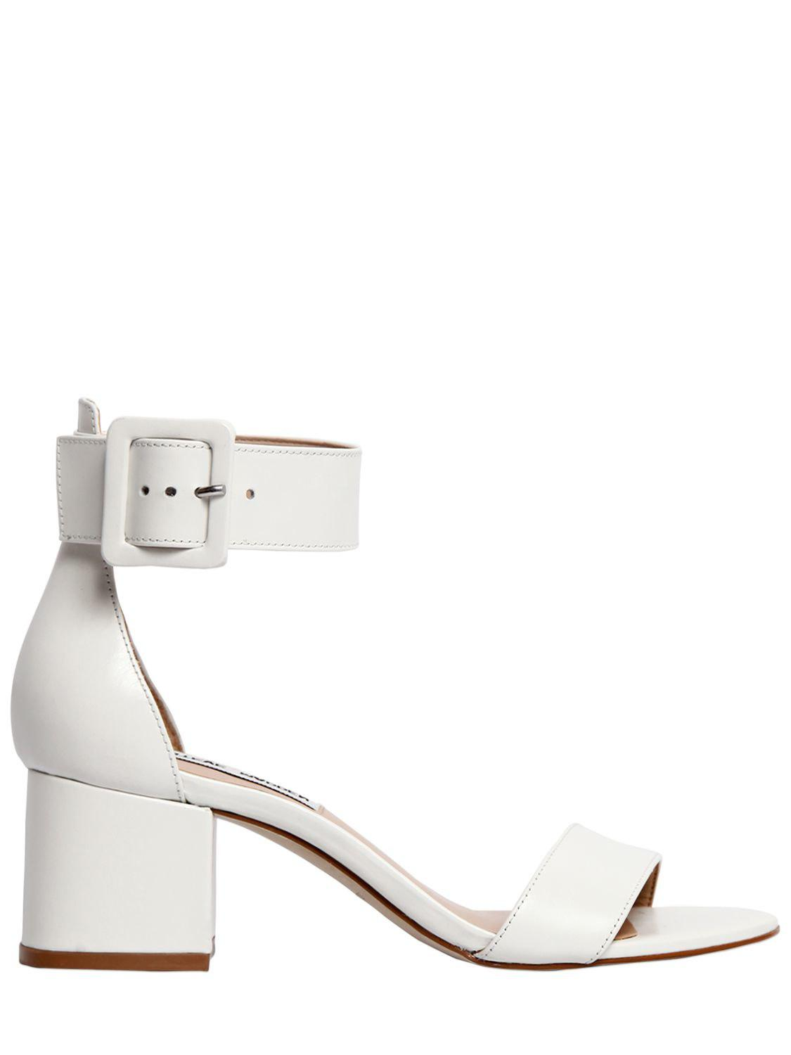 6a05232a2017 Steve Madden 55mm Indigo Leather Sandals in White - Lyst