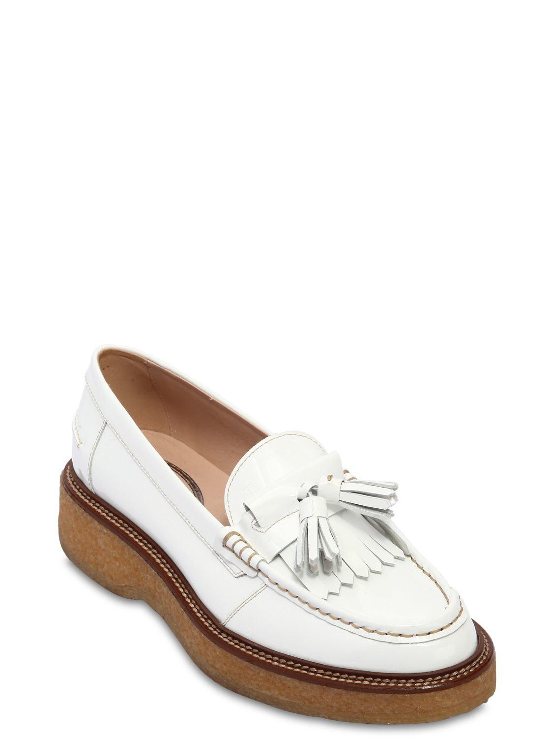 1f8da87dbe8 Tod s 35mm Tasseled Patent Leather Loafers in White - Lyst