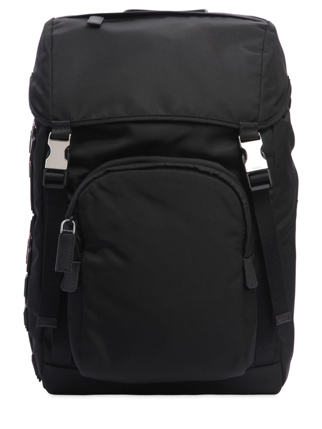 de6eaba56512 Prada Nylon Backpack W  Leather Logo Patches in Black for Men - Lyst