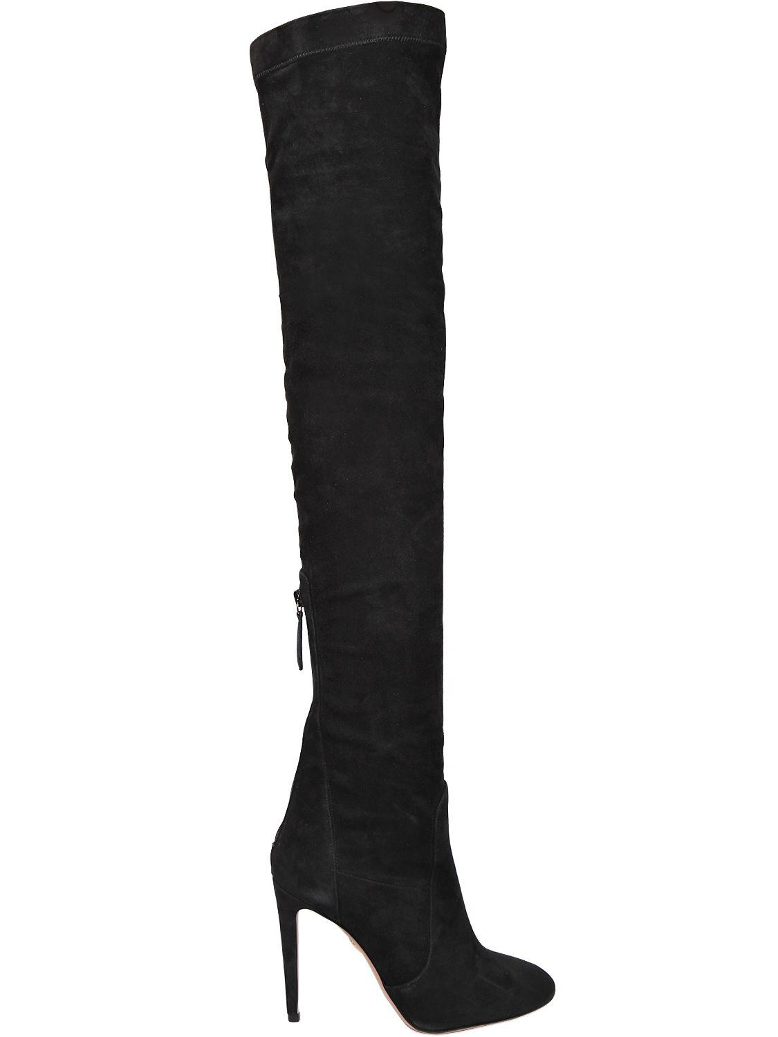 Ala?a 115MM SUEDE BOOTS WITH MIRROR DETAILS