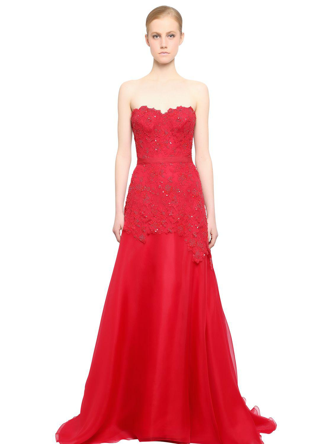Lyst - Reem Acra Embroidered Lace & Silk Organza Dress in Red