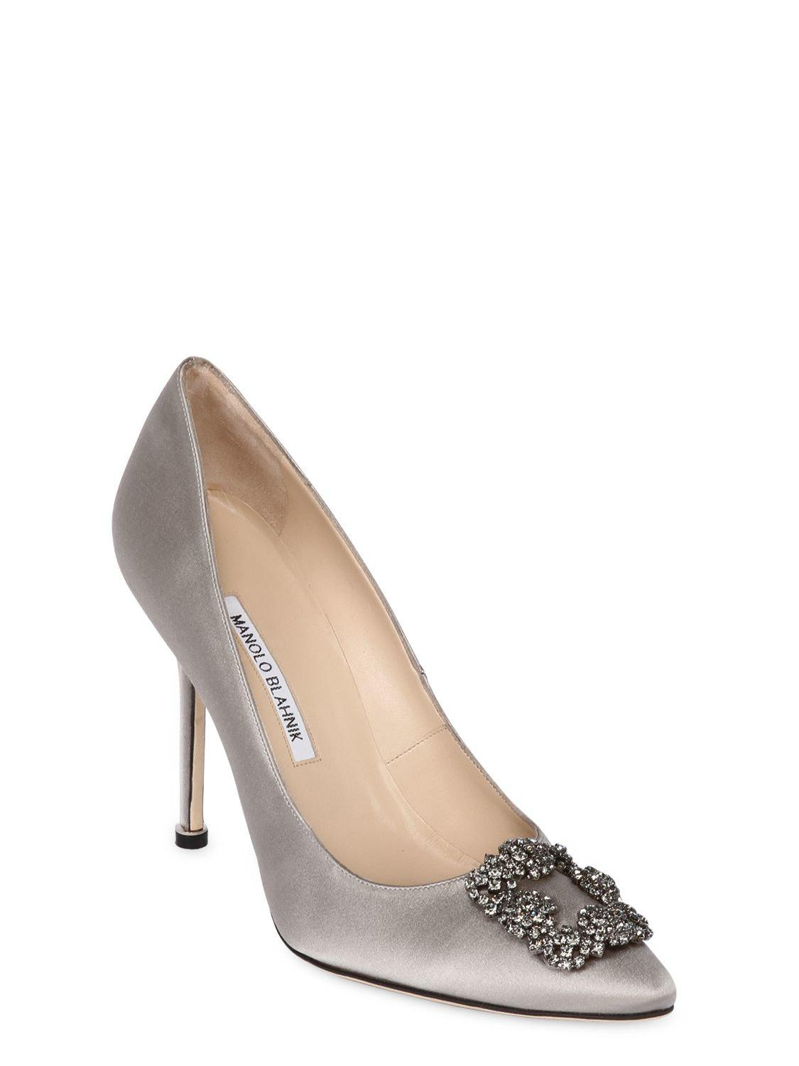 1fe887e76c55 Lyst - Manolo Blahnik 105mm Hangisi Swarovski Silk Satin Pumps in Gray