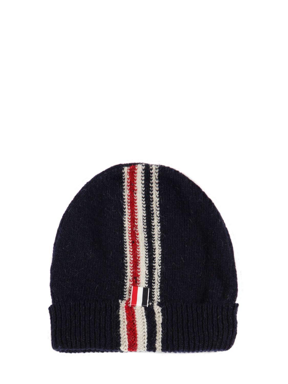 Lyst - Thom Browne Stripe Intarsia Wool   Mohair Knit Hat in Blue ... 3f5aae3d49f1