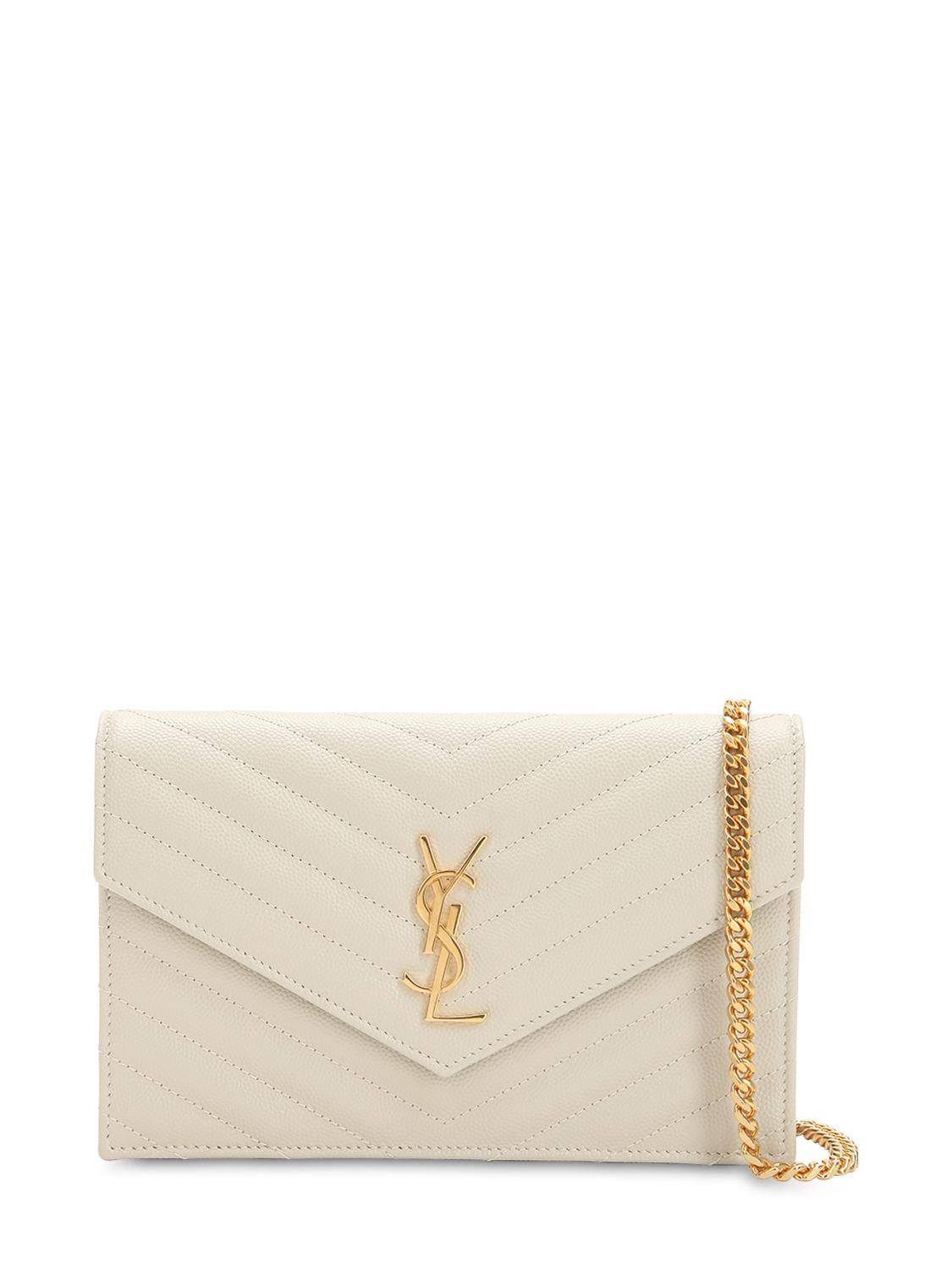 eb66b6abb162 Lyst - Saint Laurent Small Quilted Monogram Leather Bag in White