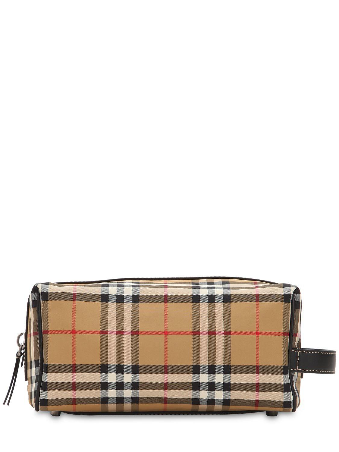 04ece4467d7e Burberry Checked Nylon Toiletry Bag for Men - Save 2% - Lyst