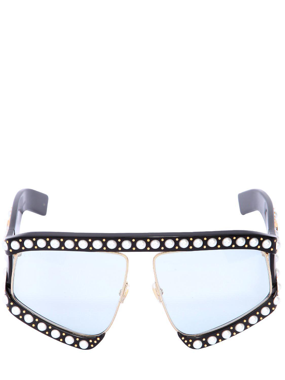 0c206ad34430 Lyst - Gucci D-frame Sunglasses W/ Imitation Pearls in Black