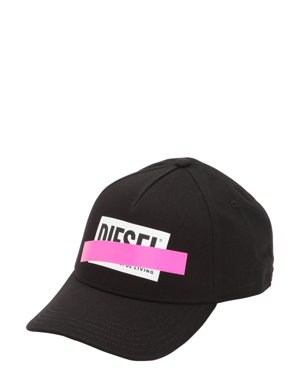 09b97687e83 DIESEL - Black Printed Logo Hat for Men - Lyst. View fullscreen