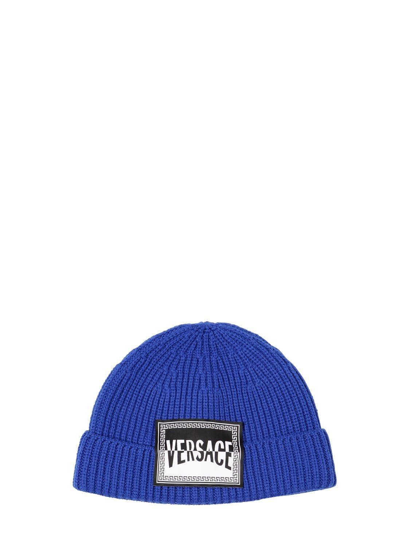 0ceaf6a4 Versace - Blue Logo Wool Beanie for Men - Lyst. View fullscreen