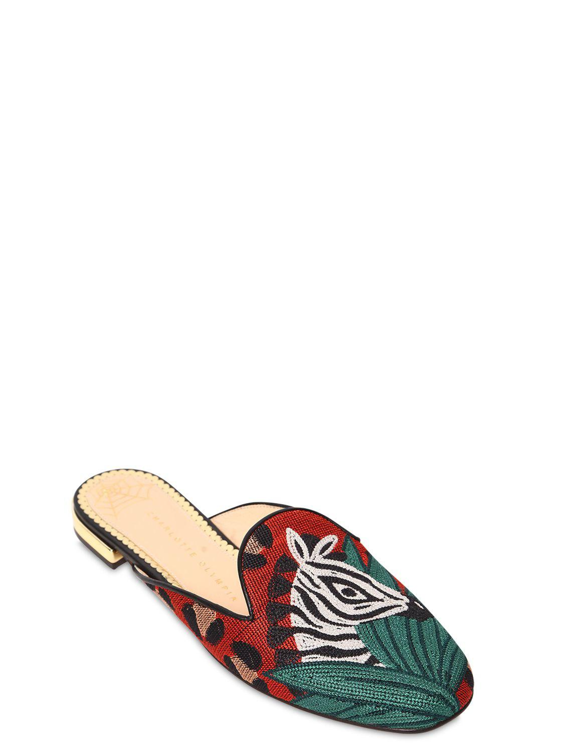 Charlotte Olympia 10MM ZEBRA EMBROIDERED CANVAS MULES zEdt9IZt