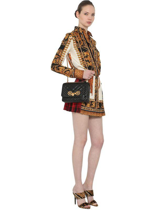 Lyst - Versace Medium Quilted Icon Shoulder Bag in Black 78f260d1a91b7