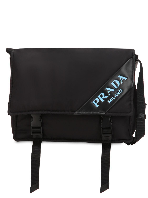 eb39db3fed8e Prada New Logo Nylon Messenger Bag in Black - Save 30% - Lyst