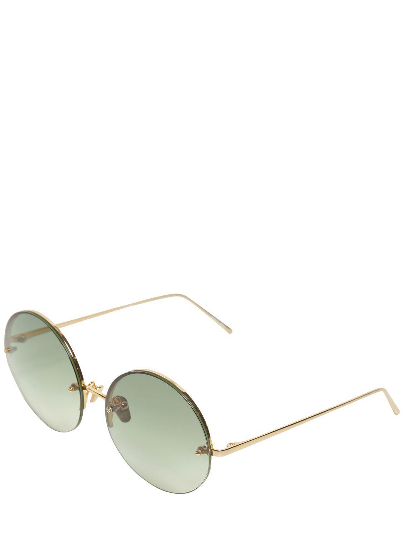 bbdf612ab3db Linda Farrow 565 C8 Round Gold Plated Sunglasses in Green - Lyst