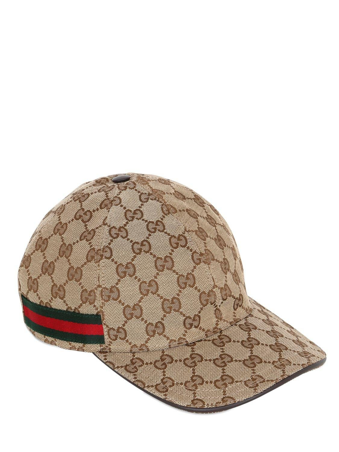 52e6b419e79 Lyst - Gucci Gg Supreme Logo Canvas Baseball Hat in Natural for Men ...