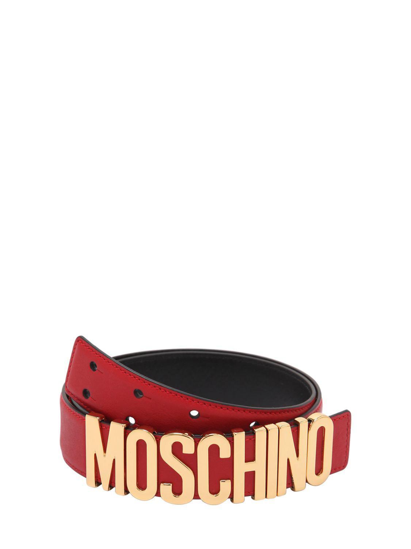Lyst - Ceinture En Cuir Et Lettres Logo 35mm Moschino en coloris Rouge ccac841ba5d