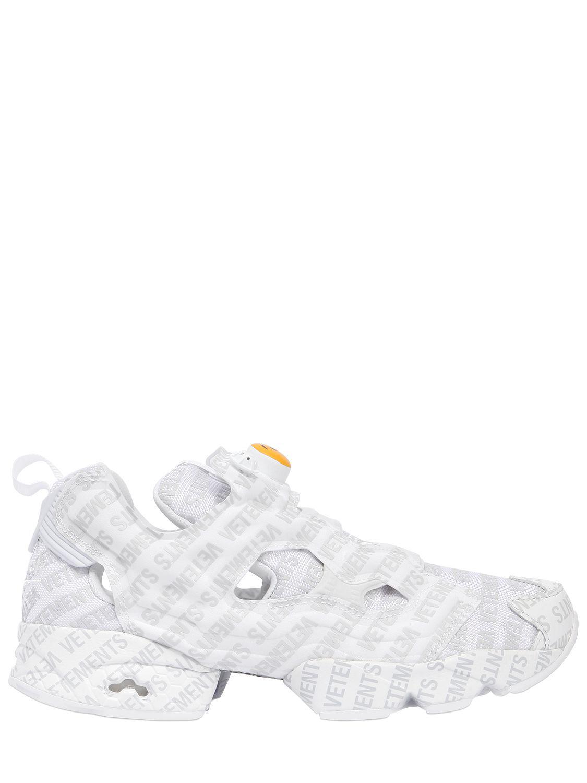 Vetements Reebok Logo Instapump Fury Sneakers in White for Men ... 2ebbbc9ca