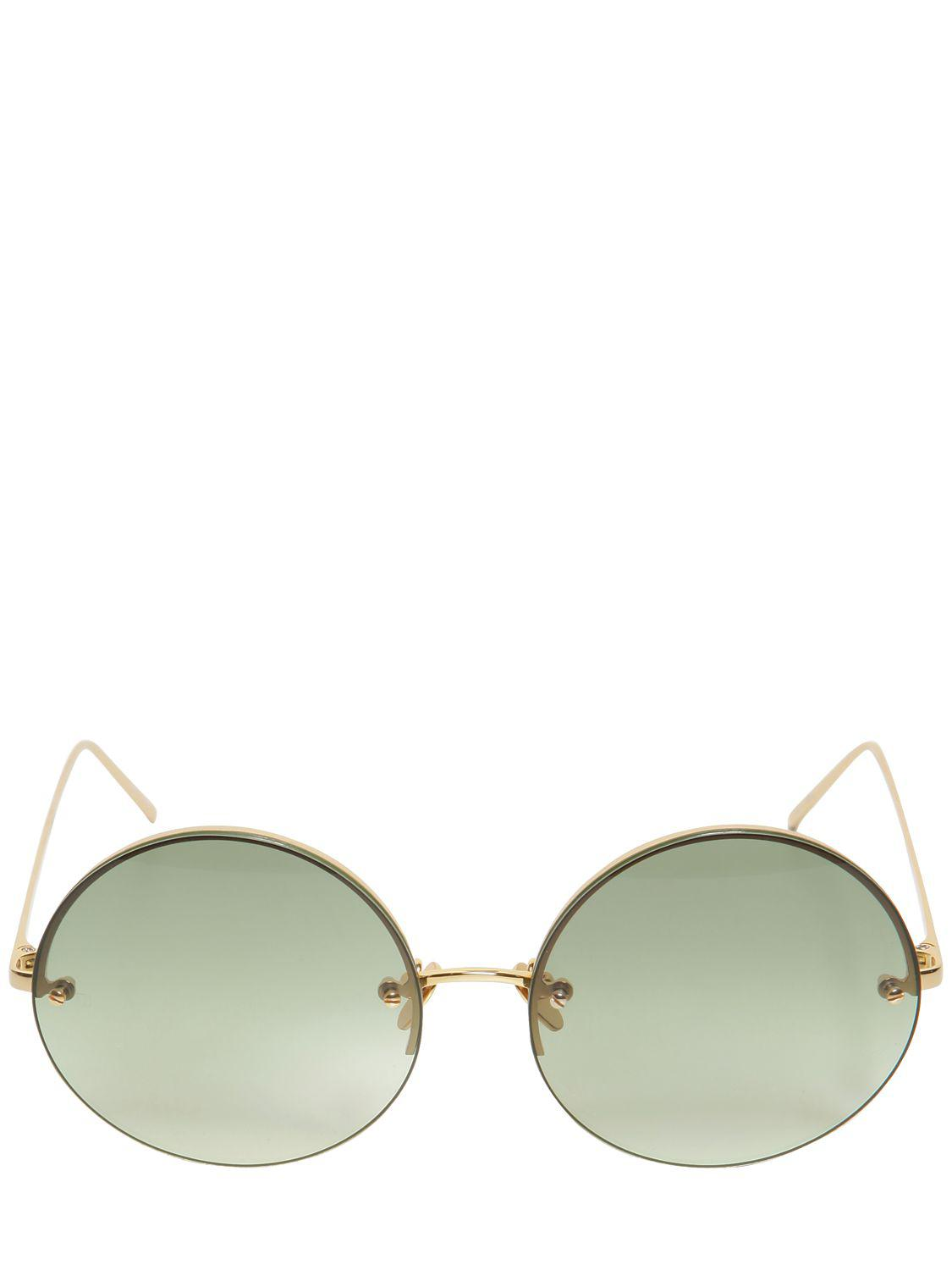 5794e43d134 Linda Farrow 565 C8 Round Gold Plated Sunglasses in Green - Lyst