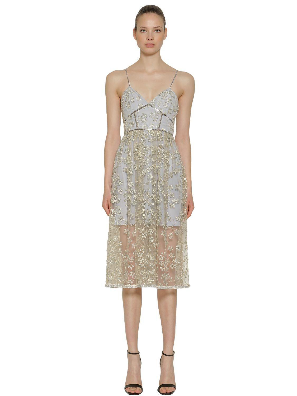 2069dfe3e00c7 Lyst - Self-Portrait Floral Embroidered Tulle Midi Dress in Gray