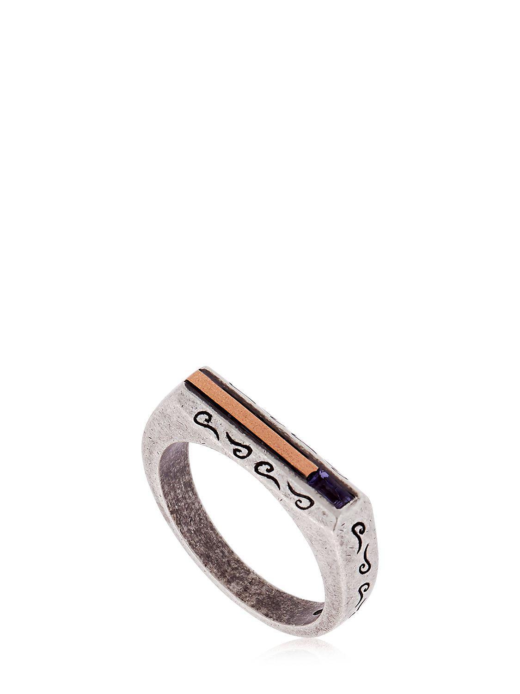 Marco Dal Maso Ara Oxidized Sterling Silver Bracelet with Diamond zYHtGki7f