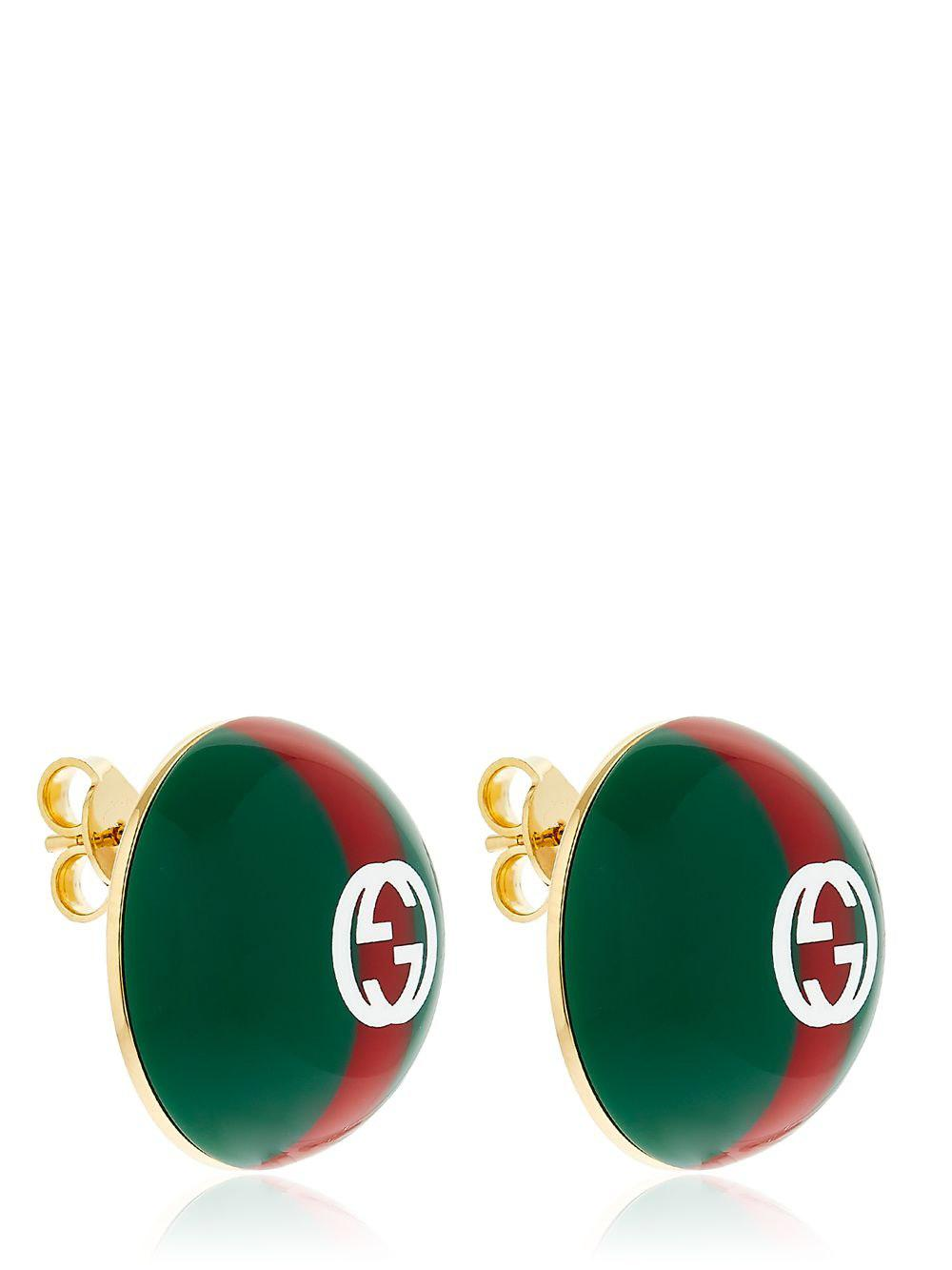 Gucci Web-striped crystal-embellished earrings 9Wkr0st