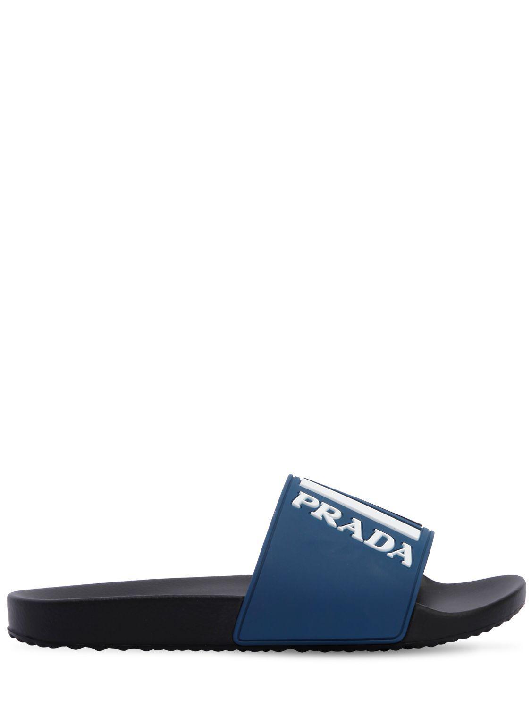 ea04d6a8e3de Lyst - Prada Graphic Logo Pool Slides in Blue for Men - Save 62%