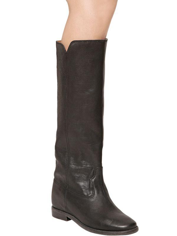 Isabel Marant 70MM CHESS WEDGED LEATHER BOOTS S29WrzV