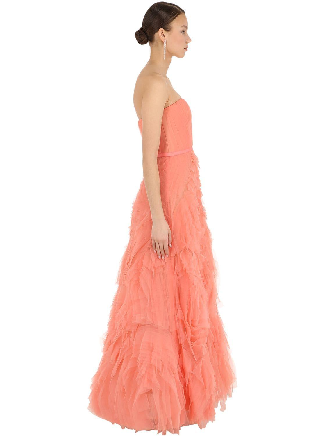 f5cc1f46 Marchesa notte - Pink Long Textured Tulle Dress - Lyst. View fullscreen