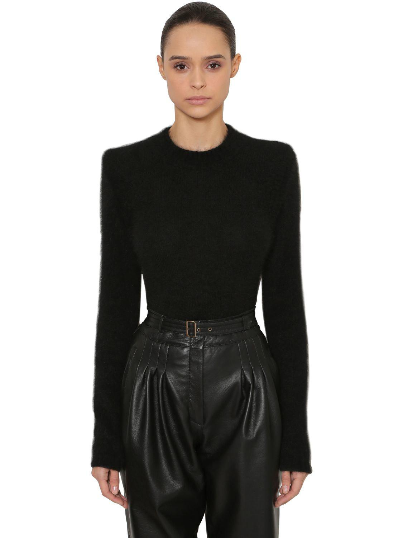 92c73a95248a Alberta Ferretti Brushed Angora Blend Knit Sweater in Black - Lyst