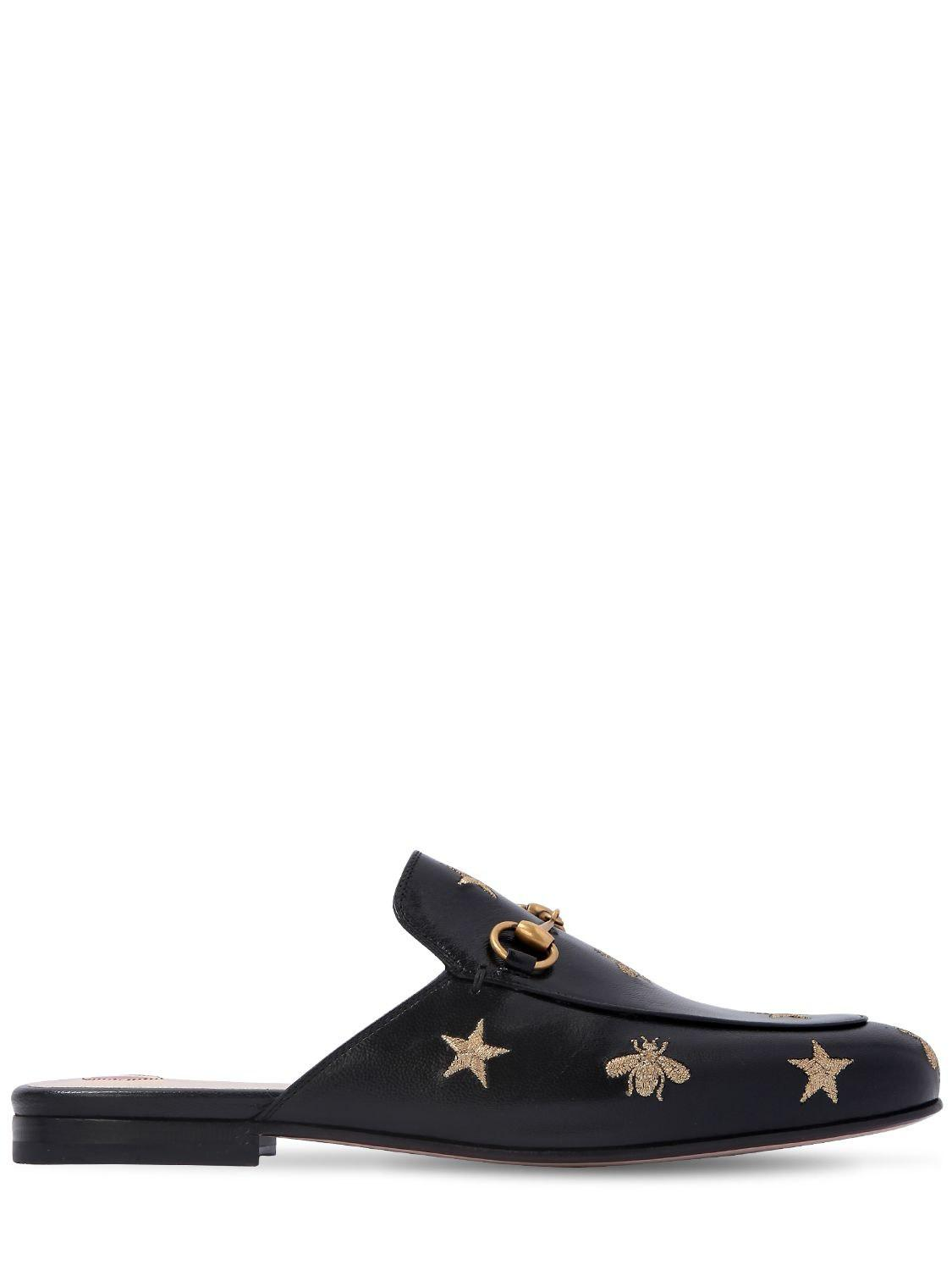 49be7b8d453 Lyst - Gucci Princetown Embroidered Leather Slipper in Black