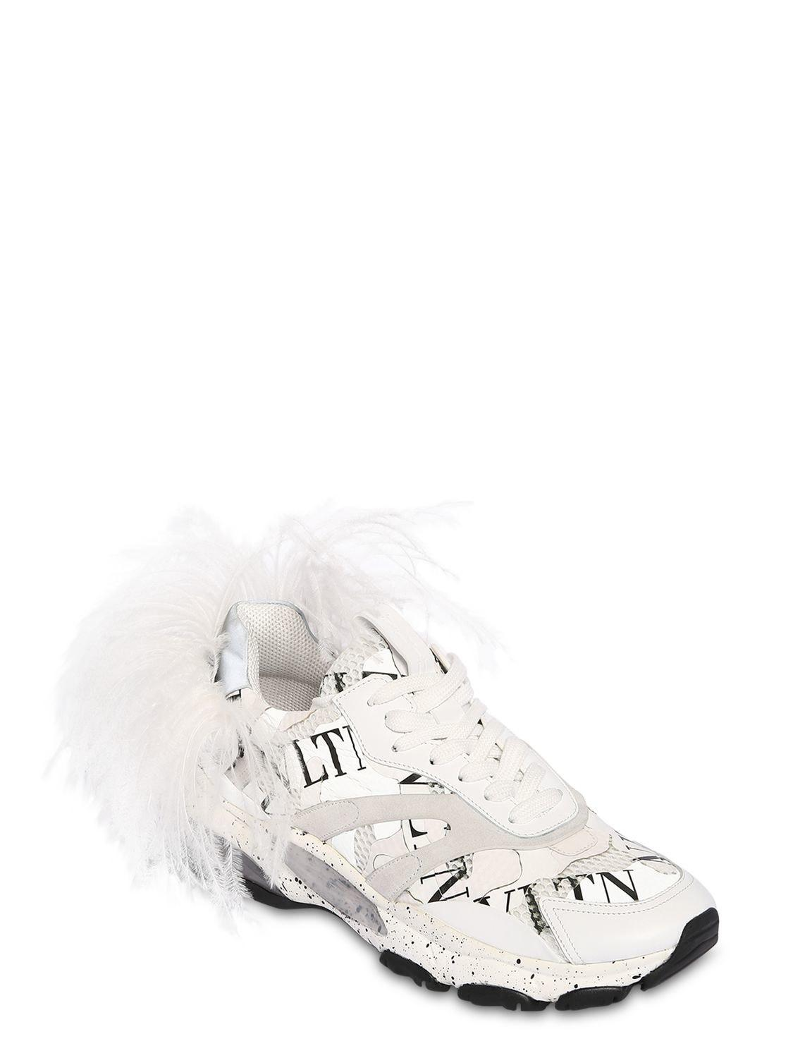 4be31ed35b8b Lyst - Valentino Bounce Leather Sneakers W  Feather in White for Men