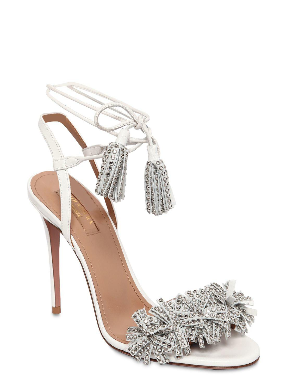 1f8121d1a Lyst - Aquazzura 105mm Wild Crystal Leather Sandals in White - Save 26%